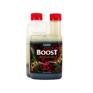 """Opaque bottle labeled """"Boost"""" with two red caps."""