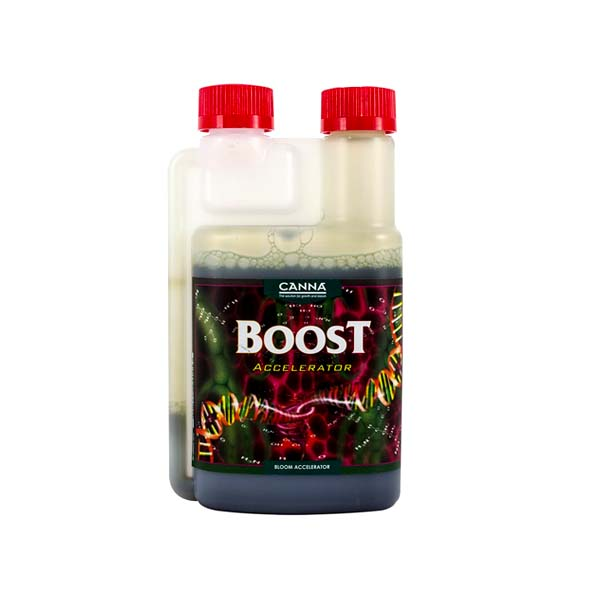 "Opaque bottle labeled ""Boost"" with two red caps."