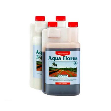 """Two opaque bottles with red caps, labeled """"Aqua Flores"""". One bottle is labeled A while the other is labeled B."""
