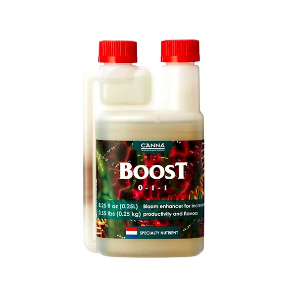 Opaque bottle with two red caps, labeled Boost.