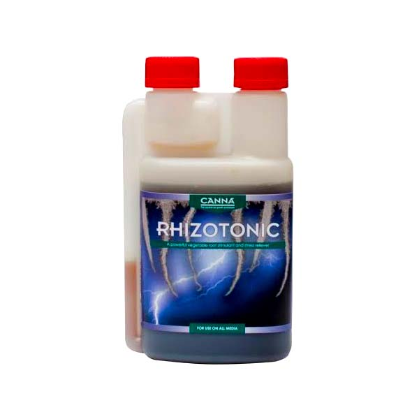 "Opaque bottle with green and blue labeling, and two red caps.The front label reads ""Rhizotonic"" with a picture of lightning in the background."