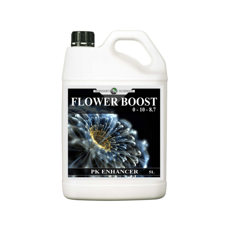 "White jug bottle with handle in black packaging and screw cap. The label reads ""Flower Boost, PK Enhancer""."