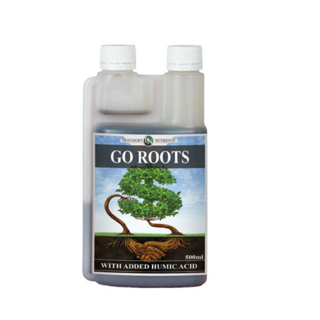 "Bottle with two white screw caps. The bottle reads ""Go Roots"" with a green letter S."