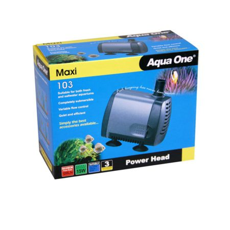 Silver air pump in blue and yellow box packaging.