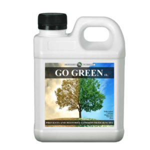 White jug bottle with gold and green packaging. This product has a black screw cap.