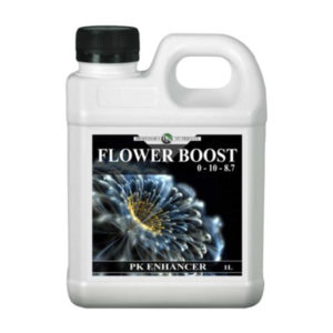 """White jug bottle with handle in black packaging and screw cap. The label reads """"Flower Boost, PK Enhancer""""."""