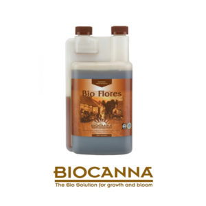 """Bottle with brown label and screw cap. The label reads """"Bio Flores""""."""