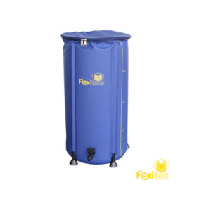 blue cylinder with yellow writing