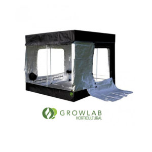 Black tent with clear and see-through internal covering.