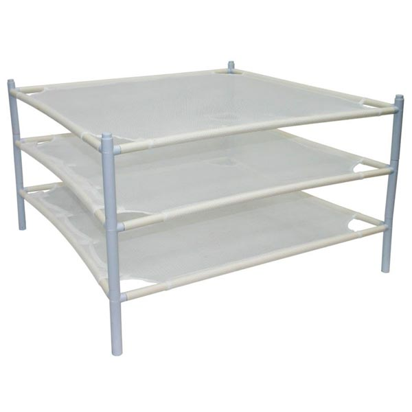 white shelves with 4 thin poles