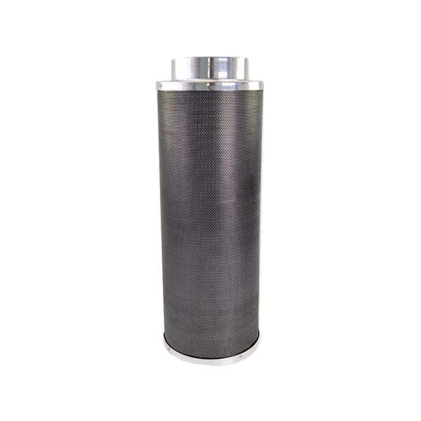 Black mesh filter with aluminium top cap and bottom.