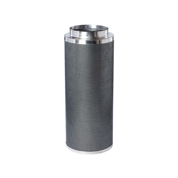 Black mesh filter with aluminium top and base.
