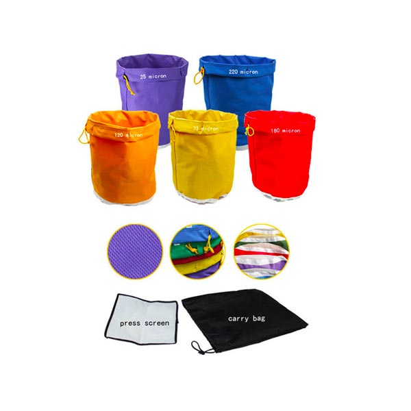 5 different bags coloured purple blue red yellow and orange