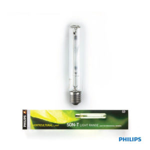 High Pressure Sodium lamp with clear tubular outer bulb, featuring yellow and green packaging.