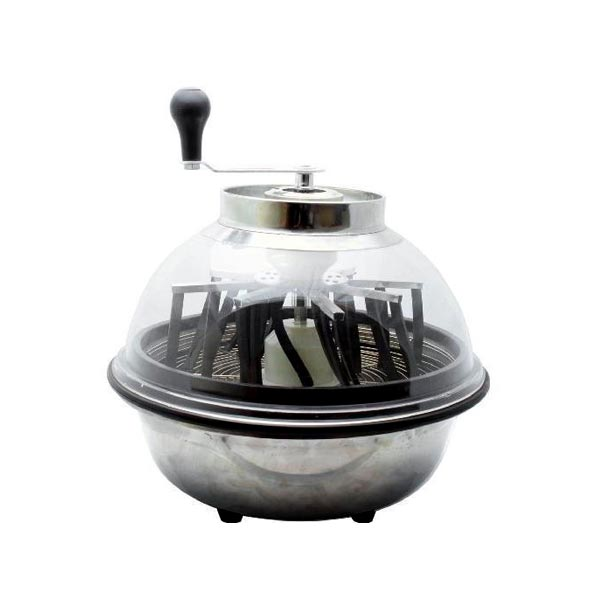sphere shape with silver bottom and clear lid