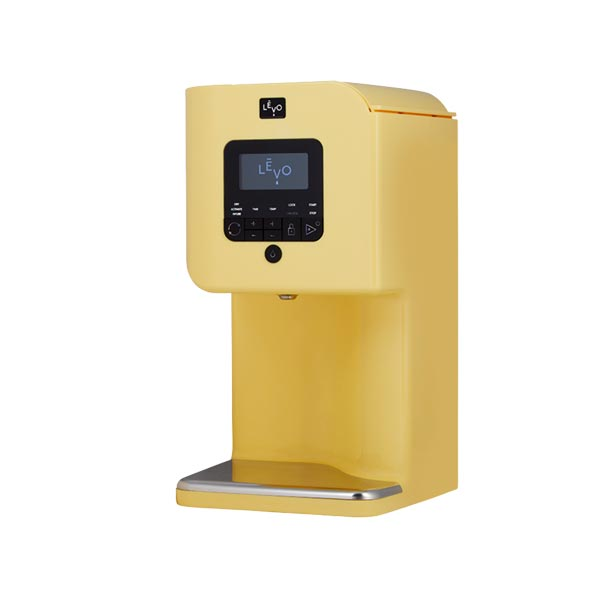 Yellow stand machine with black LED.
