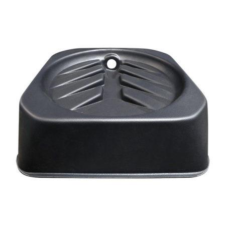 Black raised tray with sloped drainage.