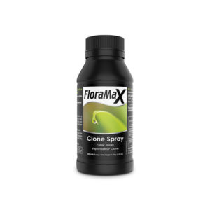 Black spray bottle with black cap and light green labeling.