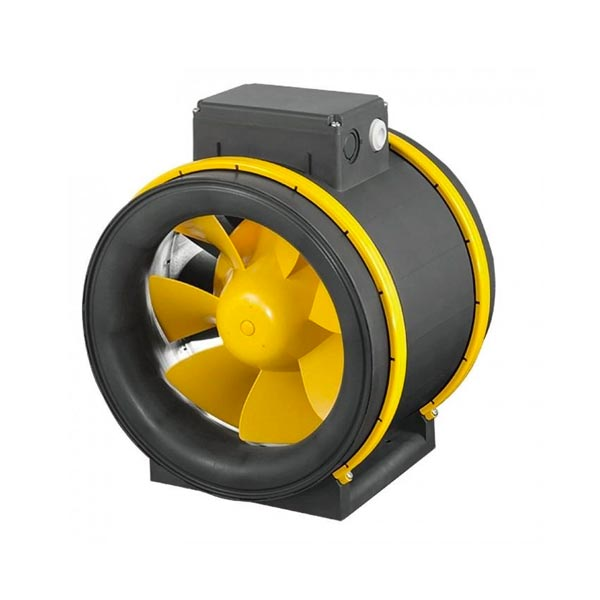 Grey fan with yellow blades.