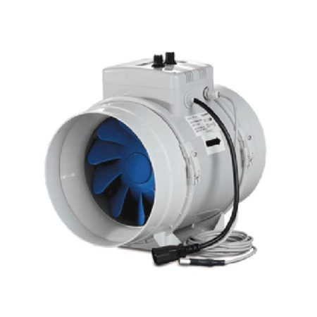 White fan with blue blades.