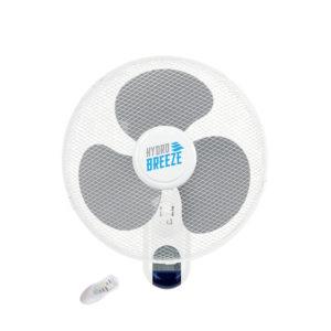 White fan with three grey blades.