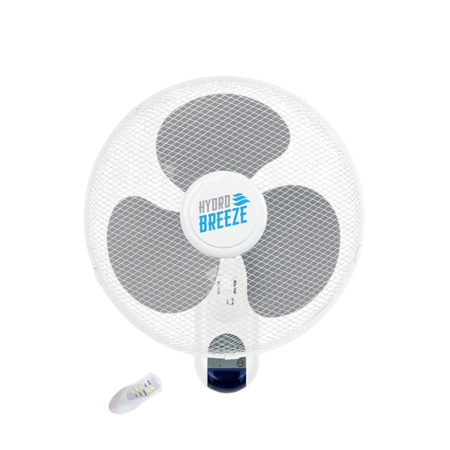 White fan with three grey blades.