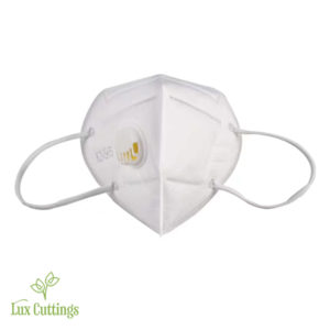 White cotton face mask with yellow respirator filter.