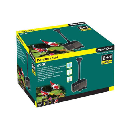 """Yellow and green packaging box labeled """"Pondmaster 4900""""."""