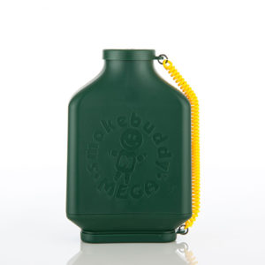 Dark green filter in kidney flask shape and yellow connector travel caps.