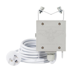 White and grey Lamp Holder with E40 Australian Cord.