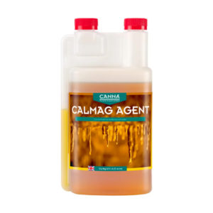 canna calmag agent 1 litre in white bottle with double red screw cap
