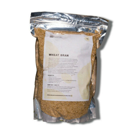 Organic Gardening Solutions Wheat Bran in 1KG bag.
