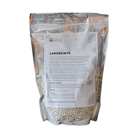 Organic Gardening Solutions Langbeinite 1KG in bag packaging.
