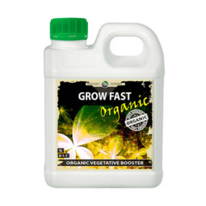 Organic grow fast in white bottle with green cap