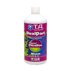 T.A. DualPart Bloom 1L in white bottle and maroon packaging.