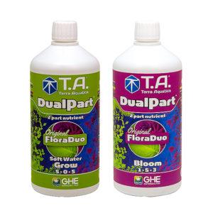 Terra Aquatica DualPart in Grow and Bloom 1-litre bottles.