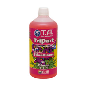TriPart Bloom 1L with white screw cap and pink packaging.