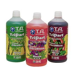 TriPart Grow, Bloom, and Micro (Soft Water) in 1-litre bottles.